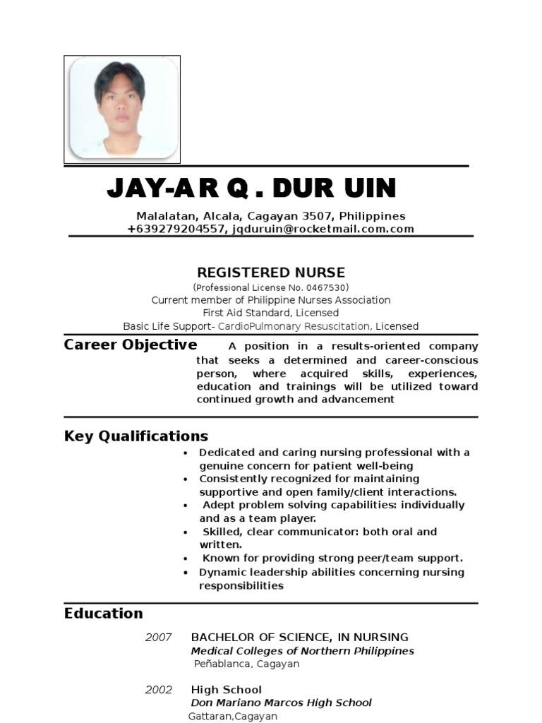 Resume Sample For Job Filipino