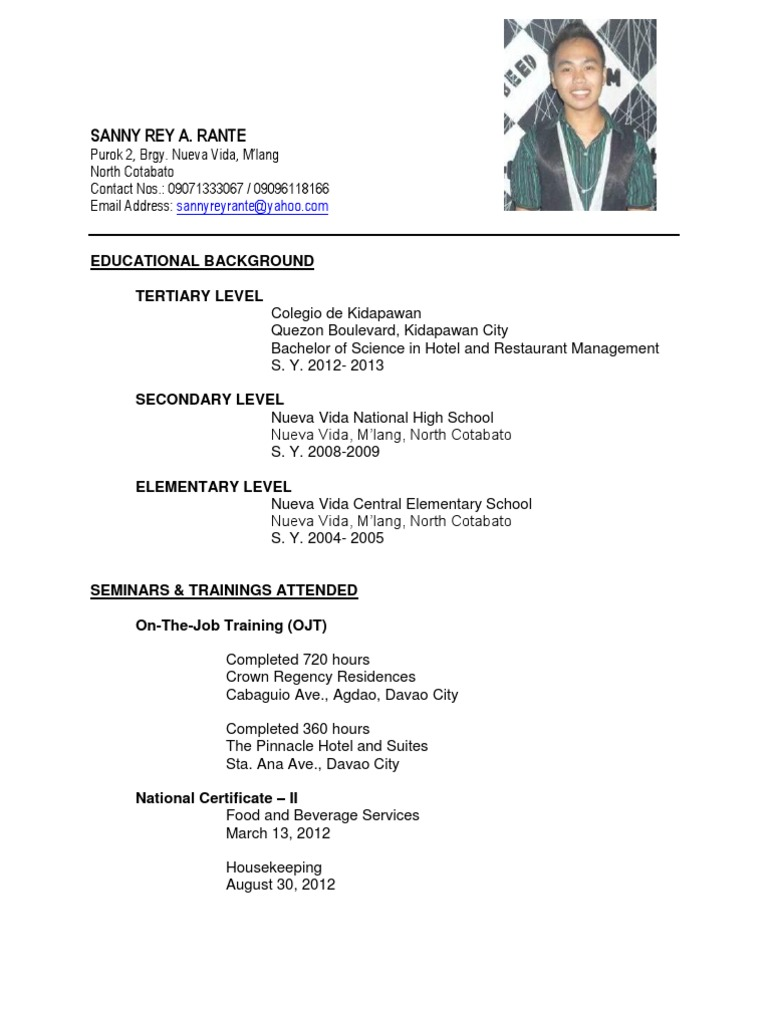 Resume Sample For Ojt