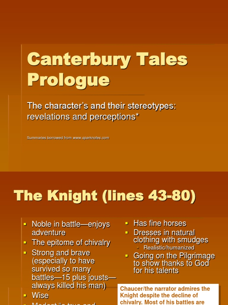the stereotypes in the story of the canterbury tales