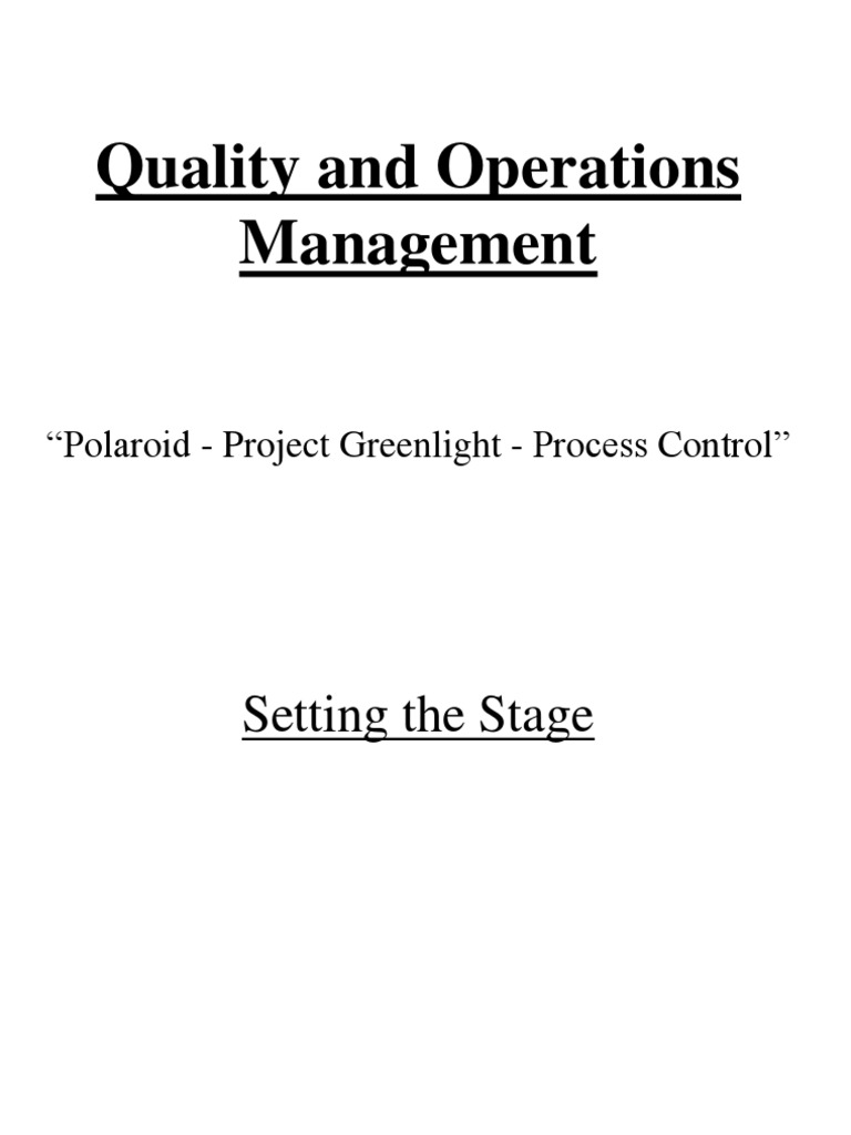 process control at polaroid case analysis
