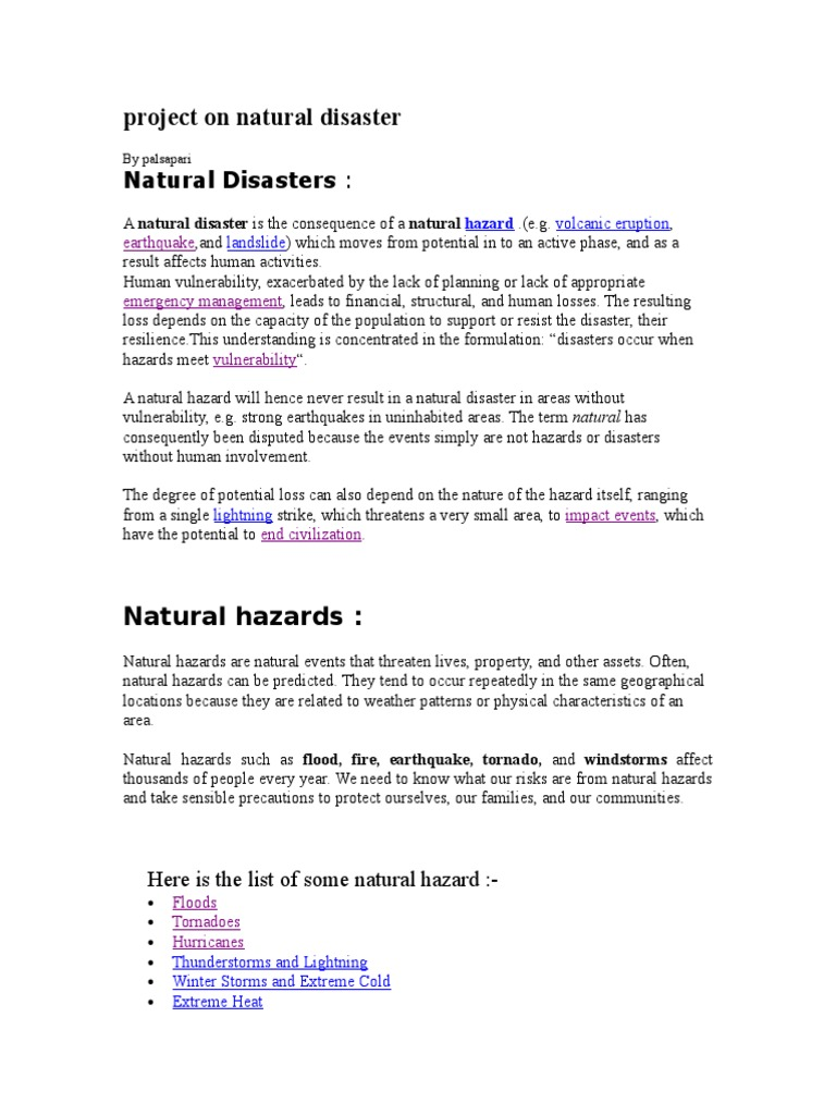 natural hazards and disasters essay