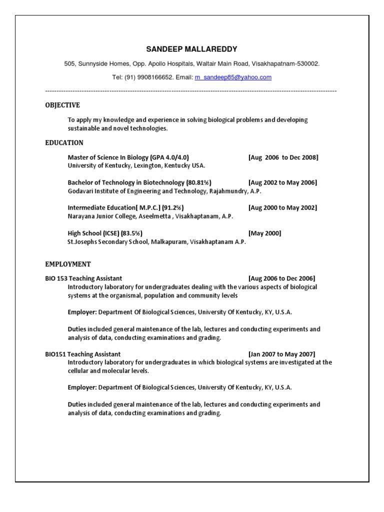Microbiologist Resume Sample resume employment objectives – Microbiologist Resume