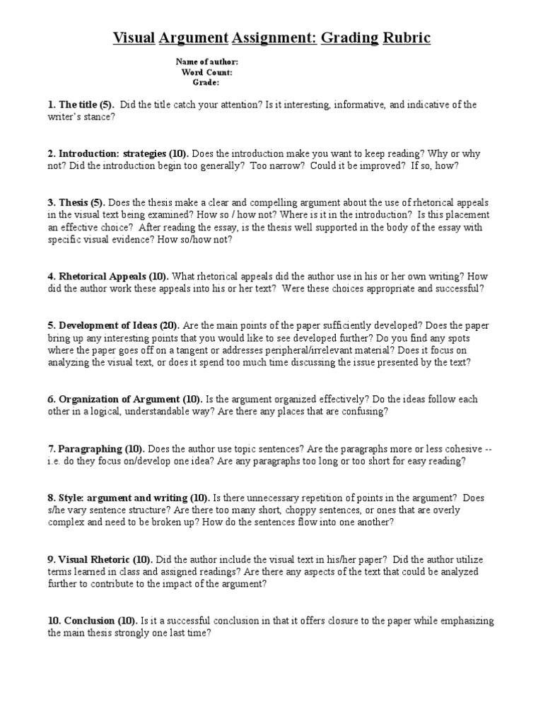 Visual Argument Essays Visual Argument Essay  Tripodcom