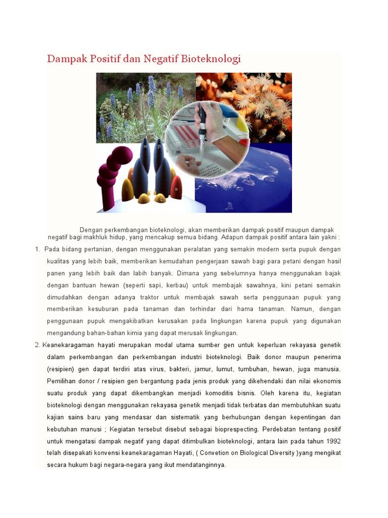 Dampak negatif penggunaan bioteknologi 1 dampak terhadap lingkungan