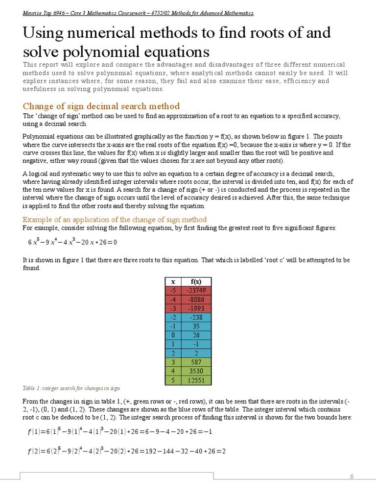 numerical methods coursework mark scheme Ocr mei c3 coursework - numerical methods c3 coursework: numerical methods the first root i shall attempt to find is the root at point c the initial.