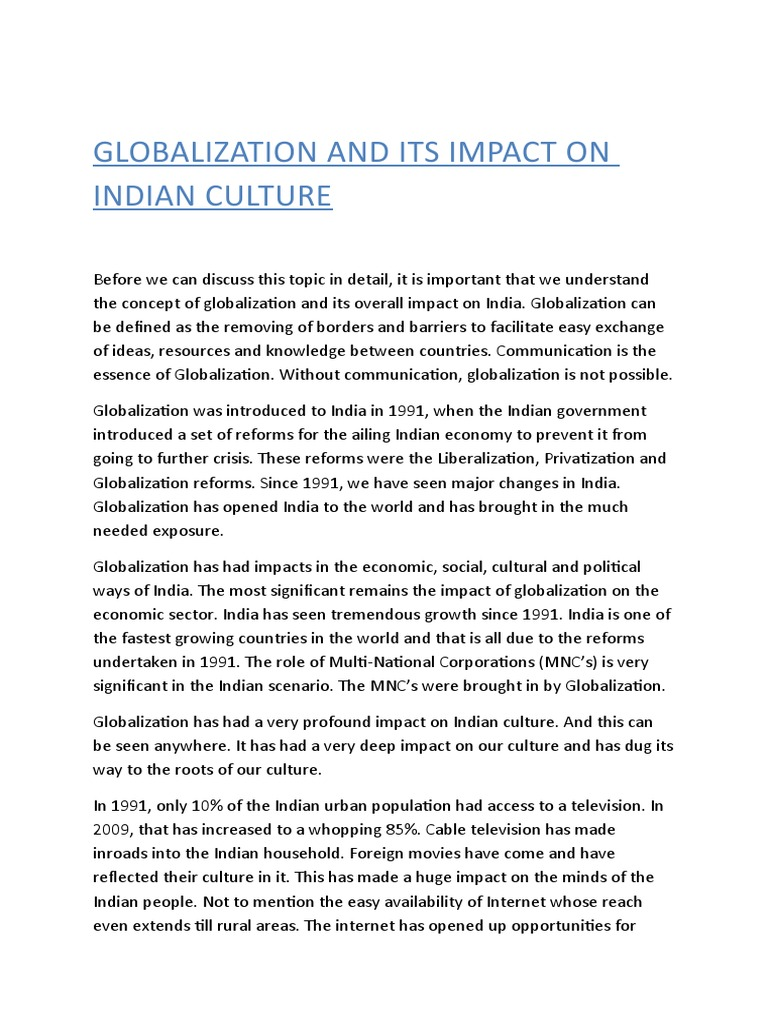 globlization and its impact on organisation