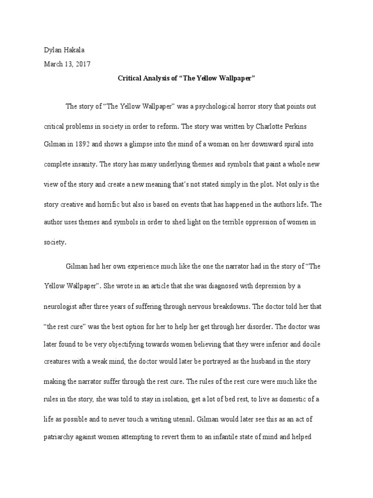 write my the yellow wallpaper critical essay the yellow wallpaper critical essay  we provide best