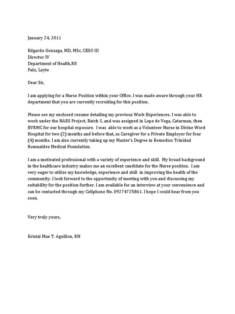 Job Application Letter Sample For Nurses