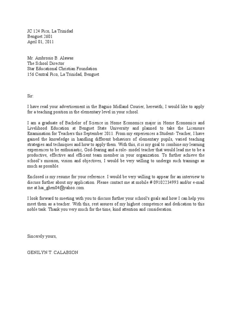 Job Application Letter To Teacher