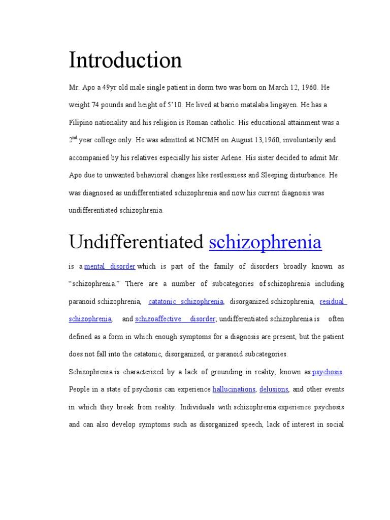 case study of schizophrenia paranoid type