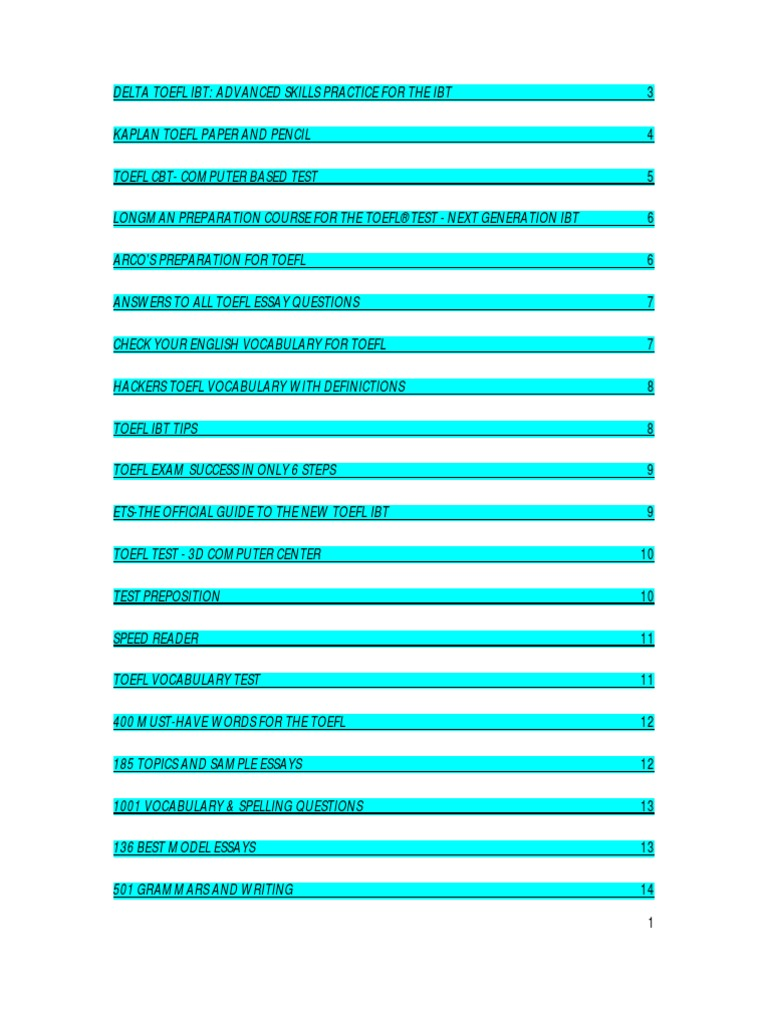 Toefl essay topic list