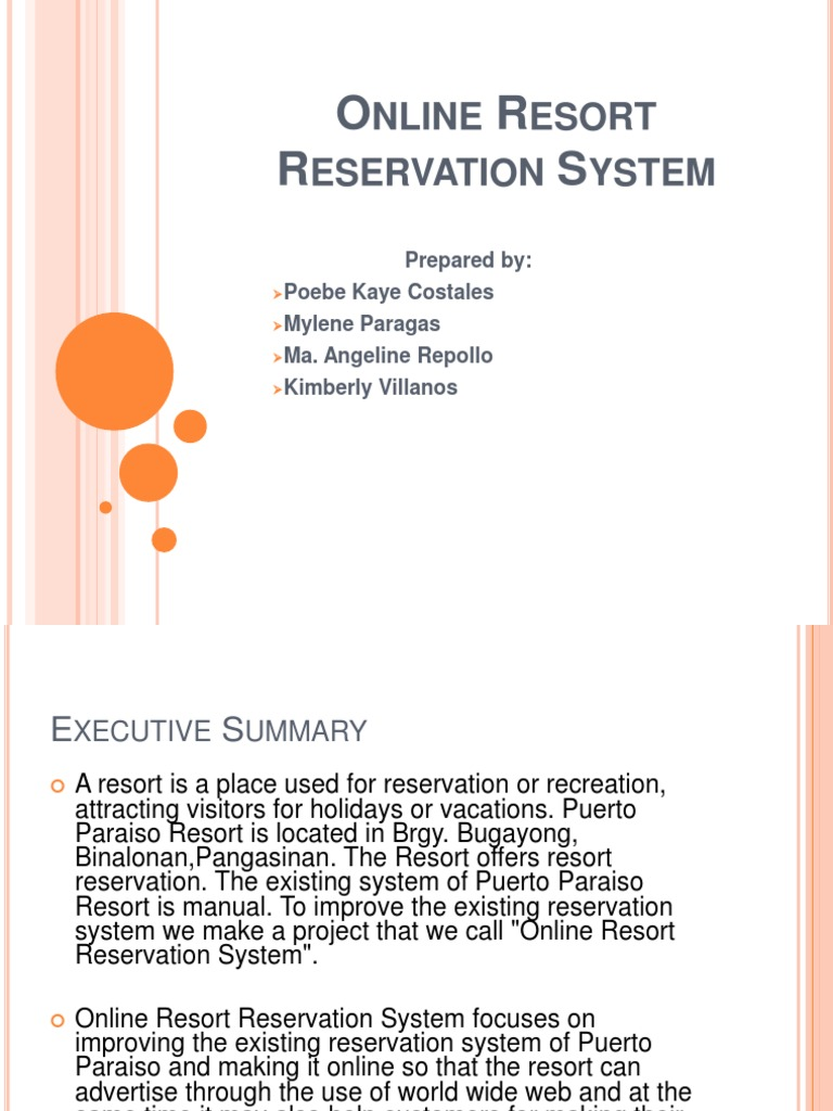 review of related literature of online resort reservation The review of the related literature in the management informationsystem gives an overview of the information contained this is veryimportant as it provides the reader with t he content.