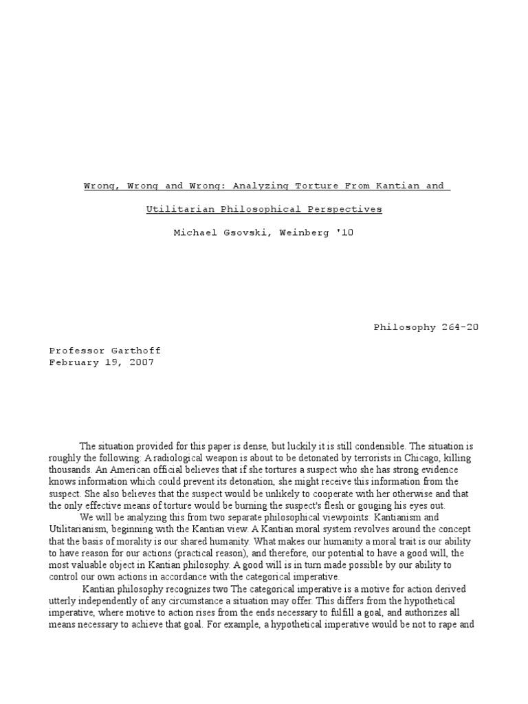 argumentive essay pro terrorist torture