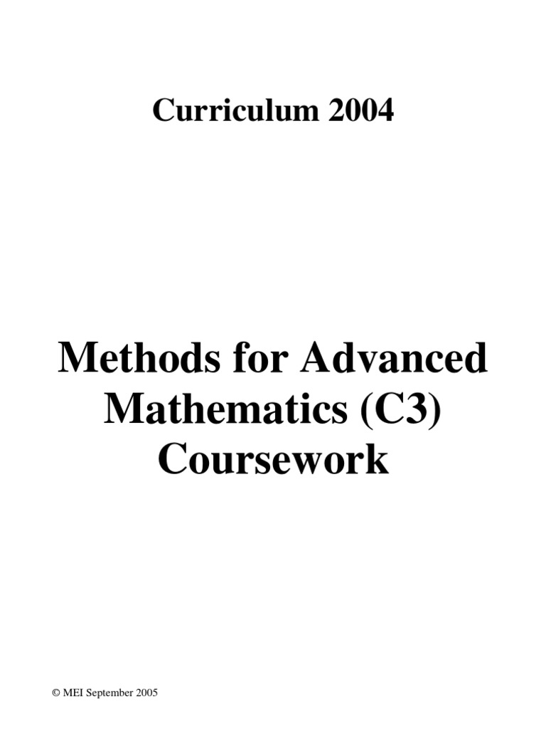 mei maths c3 coursework help