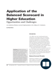 Application of the Balanced Scorecard in Higher Education