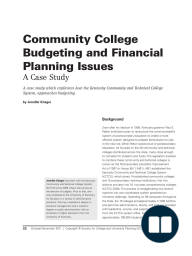 Community College Budgeting and Financial Planning Issues