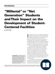 """Millenial""or ""Net Generation"" Students and Their Impact on the Development of Student- Centered Facilities"