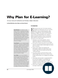 Why Plan for E-Learning?