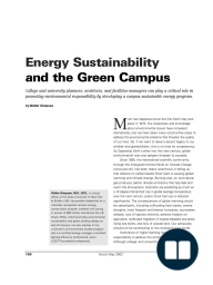 Energy Sustainability and the Green Campus