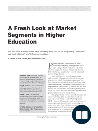 A Fresh Look at Market Segments in Higher Education