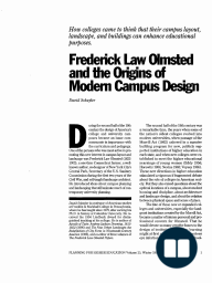 Frederick Law Olmsted and the Origins of Modem Campus Design