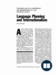 Language Planning and Internationalism