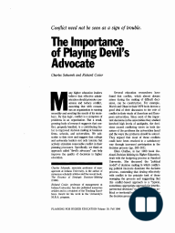 The Importance of Playing Devil's Advocate