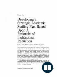 Developing a Strategic Academic Staffing Plan Based Upon A Rationale of Institutional Reduction