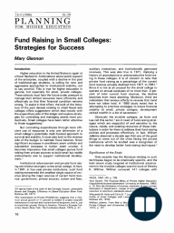 Fund Raising in Small Colleges: Strategies for Success