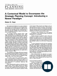 A Contextual Model to Encompass the Strategic Planning Concept