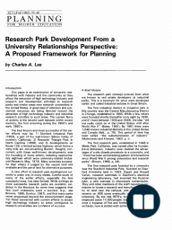 Research park Development From a University Relationships Perspective