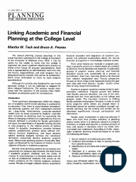 Linking Academic and Financial Planning at the College Level