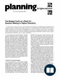 The Budget Cycle as a Basis for Decision Making in Higher Education