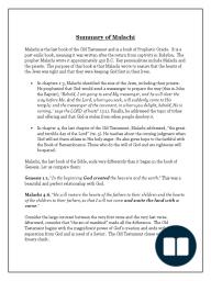 Malachi Summary