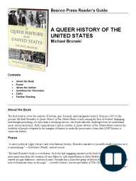 Reader's Guide for A Queer History of the United States by Michael Bronski