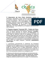 Comunicado del Observatorio del Gran Chaco Americano y el Programa Integrado Trinacional