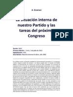 A. Gramsci La situación interna de nuestro Partido y las tareas del próximo Congreso (1925)