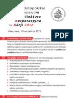 """Ogólnopolskie Seminarium """"Architektura korporacyjna w Akcji"""""""