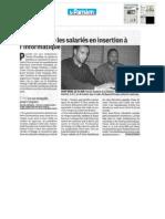 """Le parisien """"Orange initie les salariés en insertion à l'informatique"""""""