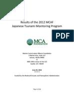 Results of the 2012 MCAF Japanese Tsunami Monitoring Program
