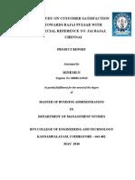 A Study on Customer Satisfaction Towards Bajaj Pulsar With Special Reference to Jai Bajaj, Chennai