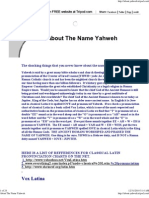 About the Name Yahweh