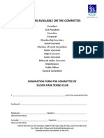 Committee Nomination Form - 2012-13