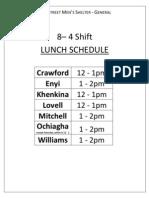 Lunch Schedule 6 June 2012