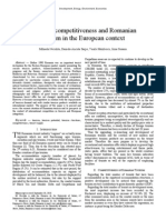 Regional Competitiveness and Romanian Tourism in the European Context