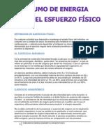 CONSUMO DE ENERGIA DURANTE EL ESFUERZO FÍSICO