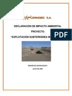 DIA Explotacion Subterranea Mina Faride