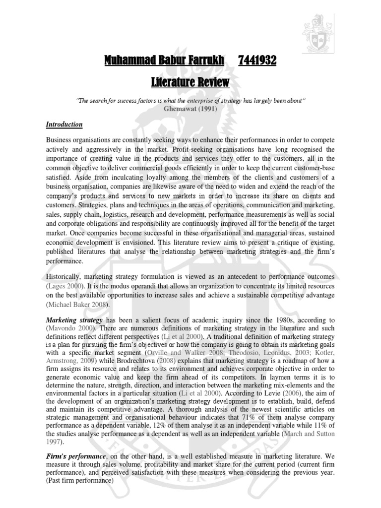 literature review on marketing strategy In summary, this literature review highlights the upward trend of internet marketing research but also the limitations of both the research strategies employed and the topics investigated the authors would suggest future literature reviews should expand article searches to full article text searches, search a broader domain of research outlets.