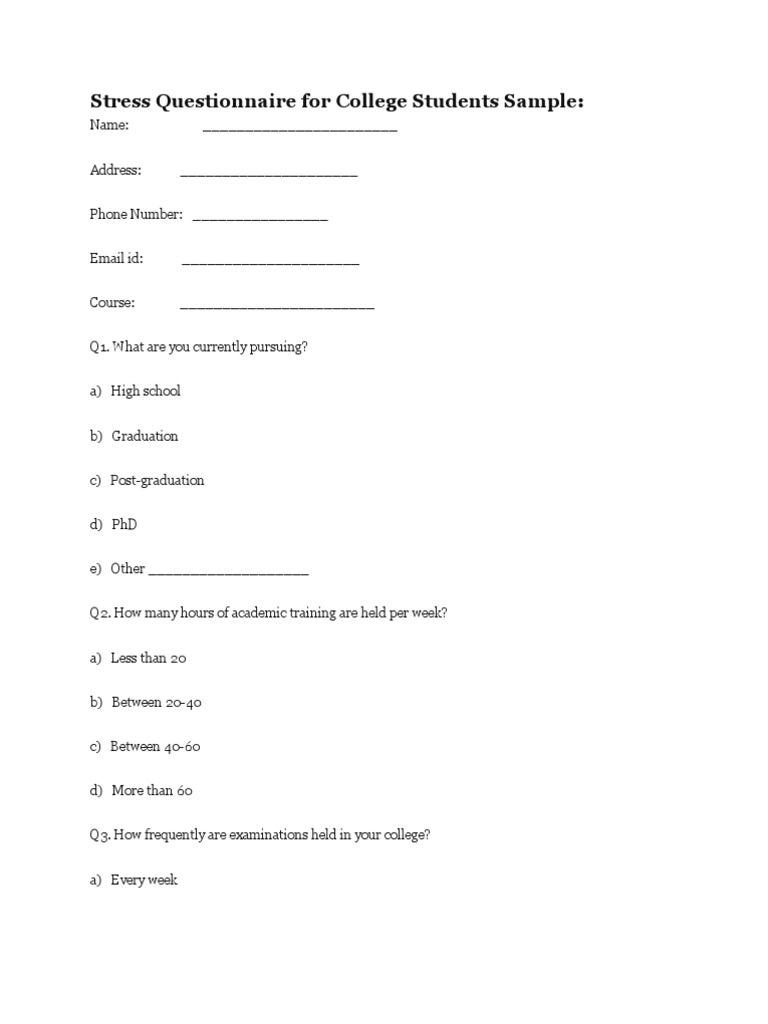 Stress Questionnaire For College Students Sample