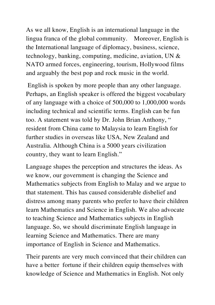 importance of english in science and technology